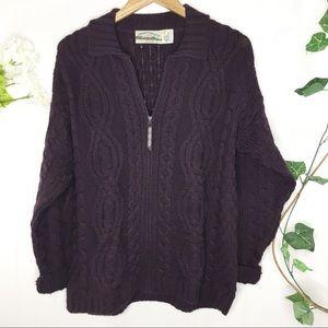 Aran Crafts Purple Cable Knit Cardigan Sweater S
